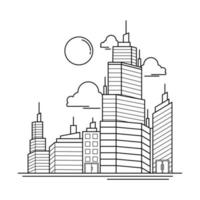 City Building Outline Design for Drawing Book Style five vector