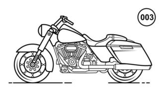 Motorcycle Outline Design for Drawing Book Style 003 vector