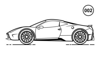 Sport Car Outline Design for Drawing Book Style 002 vector