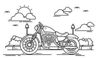 Motorcycle Outline Design for Drawing Book Style one vector