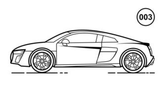 Sport Car Outline Design for Drawing Book Style 003 vector