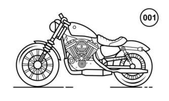 Motorcycle Outline Design for Drawing Book Style 001 vector