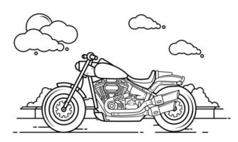 Motorcycle Outline Design for Drawing Book Style two vector