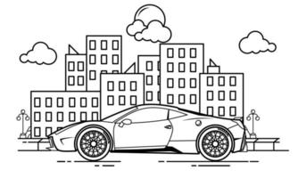 Sport Car Outline Design for Drawing Book Style two vector