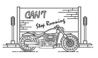 Motorcycle Outline Design for Drawing Book Style four vector
