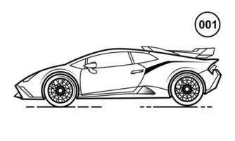 Sport Car Outline Design for Drawing Book Style 001 vector