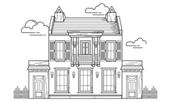 House Building Outline Design for Drawing Book Style nine vector