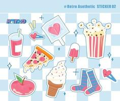 Stickers of sweet and cute objects vector