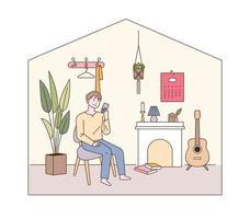 Modern living room interior. vector