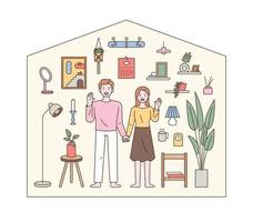 A couple is greeting each other in the shape of a house vector