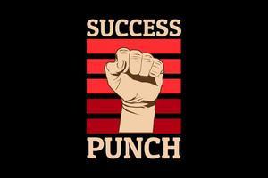success punch retro design vector