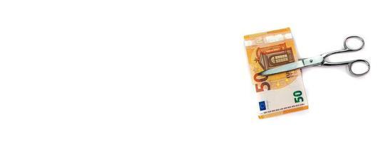 Banner dedicado al mundo de los negocios y a los billetes de 50 euros. foto