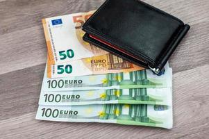 50 and 100 euro banknotes with wallet photo