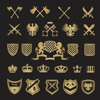 Medieval stylized shapes swords shields crowns lions knight vector