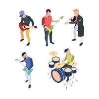 Isometric musician people with instruments guitars drum and microphone vector