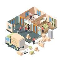 Isometric house removal service worker lifting sofa and boxes in truck vector
