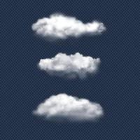 Clouds realistic. Nature sky weather symbols rain or snow cloud vector