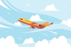 Vuelo de transporte de aviones civiles en nubes vector fondo plano