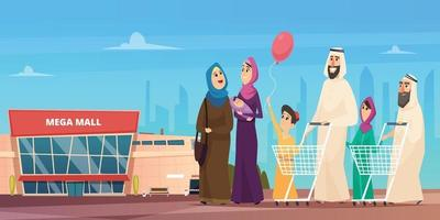 Arabic family shopping. Muslim happy characters going to market saudi vector