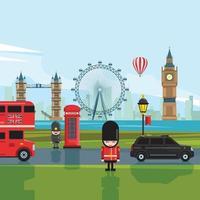 London city skyline gray silhouette background vector