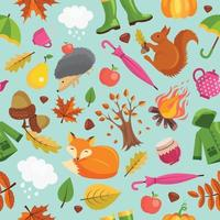 Forest fall cute fox hedgehog and orange squirrel in yellow leaves vector