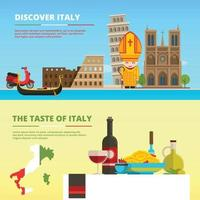 Background pictures of Italy. Banners set in flat style vector