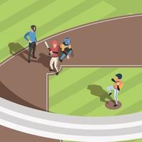 Isometric Baseball field Sport team players playing baseball vector