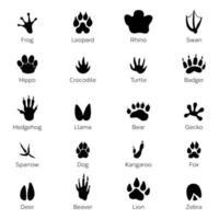 Animal and reptile footprints vector. Set foot prints wild animals vector
