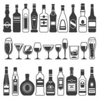 Monochrome illustrations of black pictures of alcoholic bottles vector