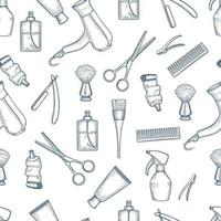 Barber Shop seamless pattern with doodle vector