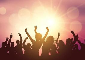 party crowd on sunset background 2107 vector