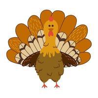 Cute cartoon turkey vector illustration. Farm bird .