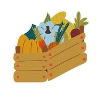 Box with vegetables .Local farmers products. vector