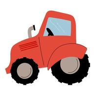 Farm red tractor with cab, wheels and exhaust pipe. Vector