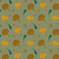 Autumn seamless pattern with leaves and berries. vector
