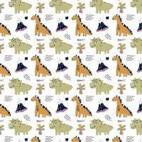 Dinosaurs kids seamless vector pattern Flat style