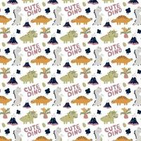 Cute seamless pattern with dinosaurs on a white vector