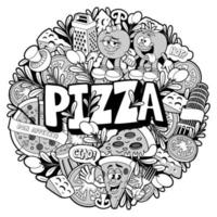 Round doodle pizza pattern vector