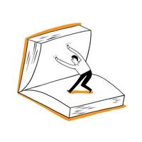 A man, a student or a businessman is flipping over a large book vector