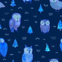 Seamless pattern with hand draw illustration of owls in night forest vector