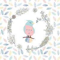 Colorful illustration of cute bird and wreath, on seamless background vector