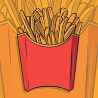 Sweet potato fries in paper box detailed vector icon