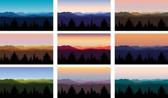 mountain landscape vector illustrations  with trees and skies