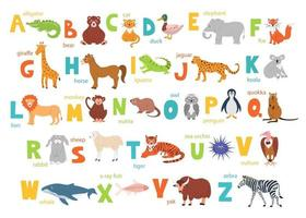 Children's alphabet with cute animals for education and manual font vector