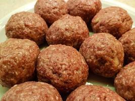 Koenigsberger Klopse meatballs and potatoes with caperberries sauce photo