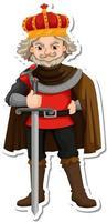 King holding sword cartoon character sticker vector