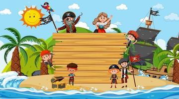 Empty wooden board with many pirate kids at the beach vector