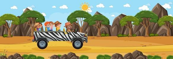 Panorama landscape scene with many kids travelling by car vector