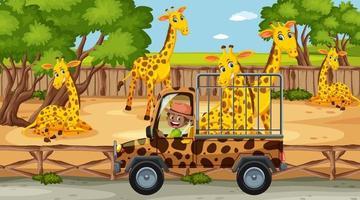 Safari at daytime scene with kids watching giraffe group vector