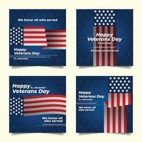 Veterans Day Social Media Template vector